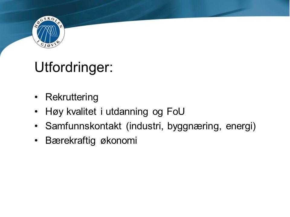Utfordringer: Rekruttering Høy kvalitet i utdanning og FoU Samfunnskontakt (industri, byggnæring, energi) Bærekraftig økonomi