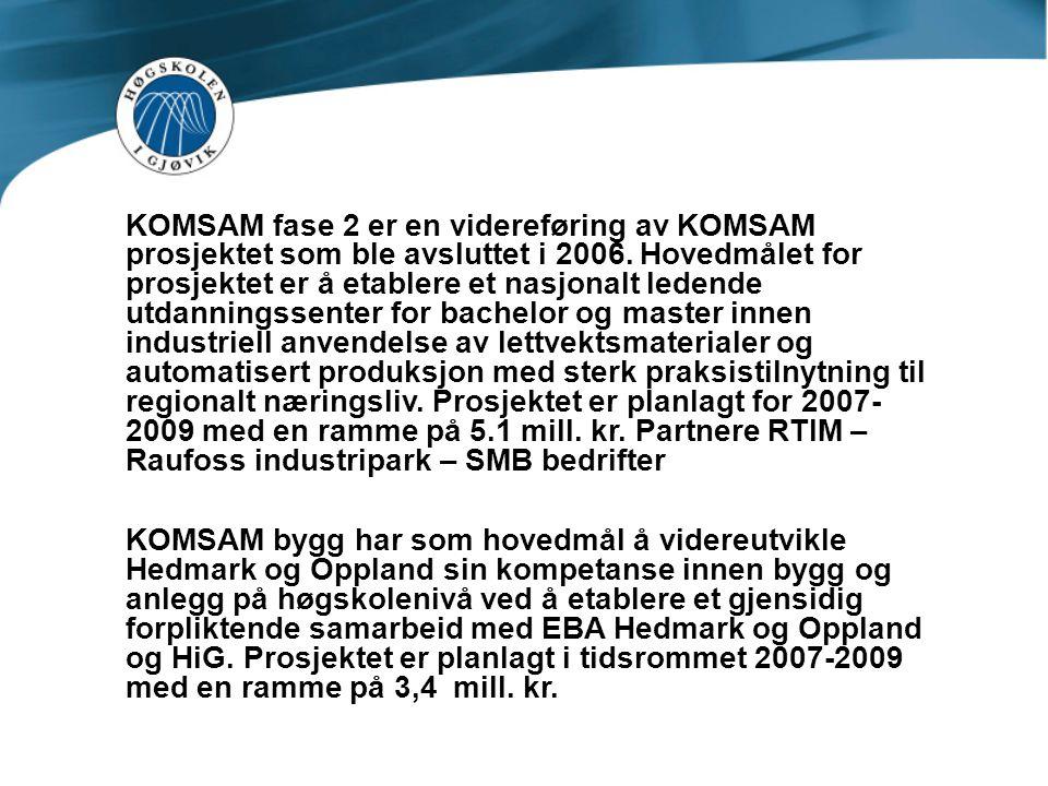 KOMSAM fase 2 er en videreføring av KOMSAM prosjektet som ble avsluttet i 2006. Hovedmålet for prosjektet er å etablere et nasjonalt ledende utdanning