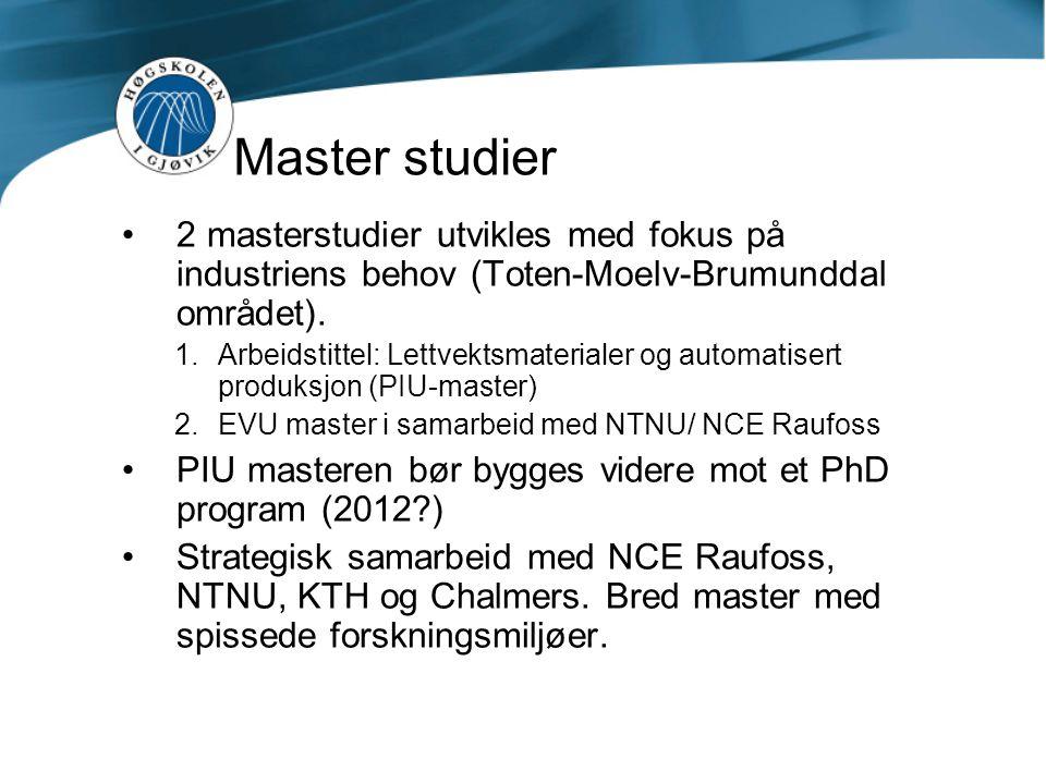 Master studier 2 masterstudier utvikles med fokus på industriens behov (Toten-Moelv-Brumunddal området).  Arbeidstittel: Lettvektsmaterialer og auto