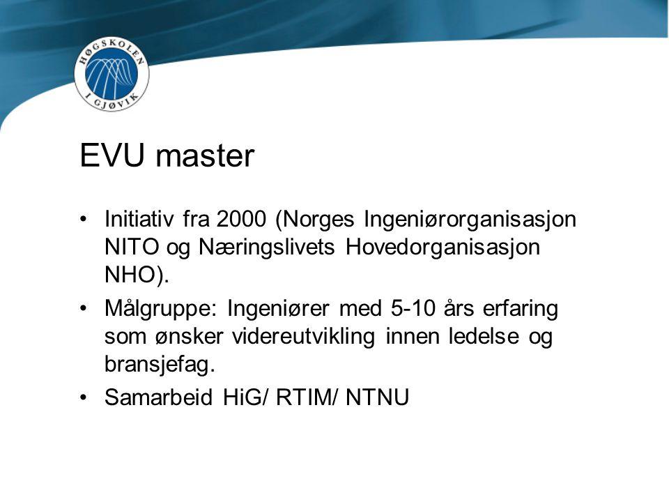 EVU master Initiativ fra 2000 (Norges Ingeniørorganisasjon NITO og Næringslivets Hovedorganisasjon NHO). Målgruppe: Ingeniører med 5-10 års erfaring s