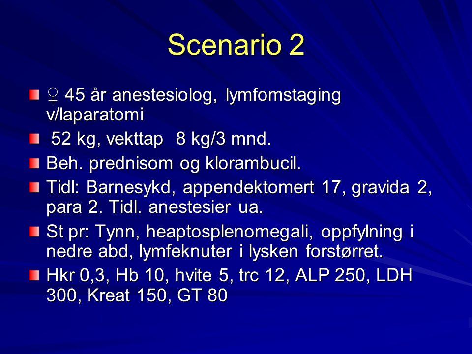 Scenario 2 ♀ 45 år anestesiolog, lymfomstaging v/laparatomi 52 kg, vekttap 8 kg/3 mnd. 52 kg, vekttap 8 kg/3 mnd. Beh. prednisom og klorambucil. Tidl: