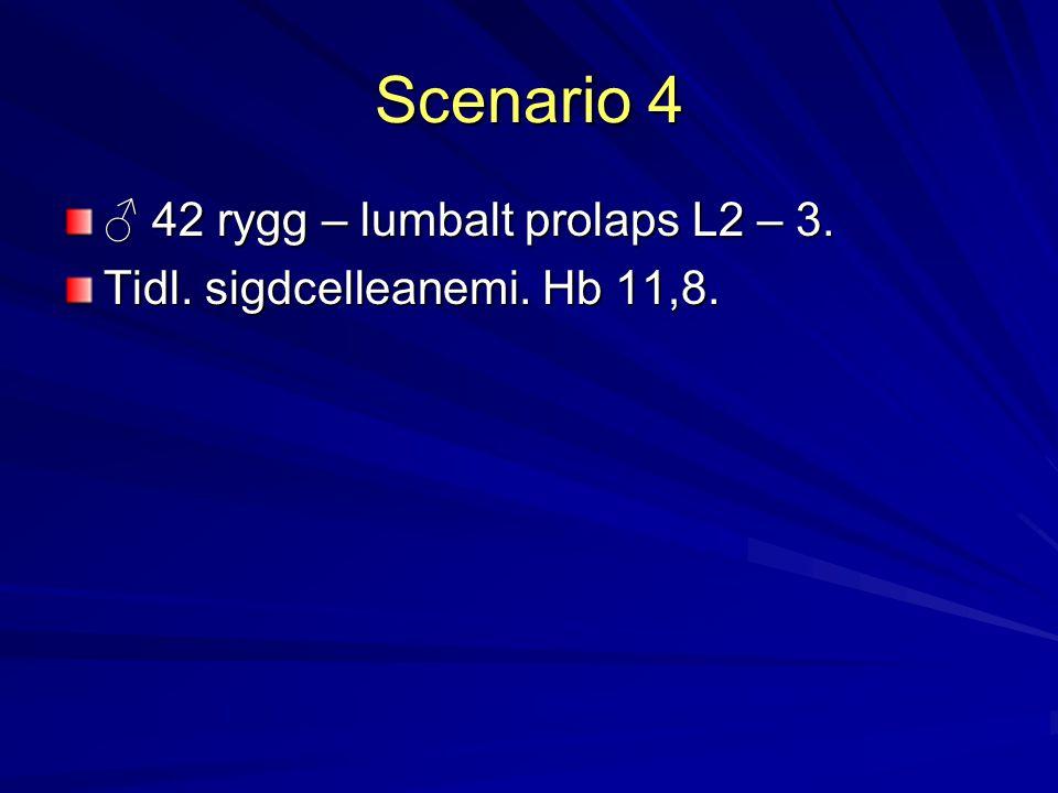 Scenario 4 ♂ 42 rygg – lumbalt prolaps L2 – 3. Tidl. sigdcelleanemi. Hb 11,8.