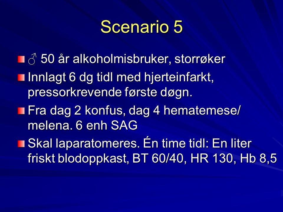 Scenario 5 ♂ 50 år alkoholmisbruker, storrøker Innlagt 6 dg tidl med hjerteinfarkt, pressorkrevende første døgn. Fra dag 2 konfus, dag 4 hematemese/ m