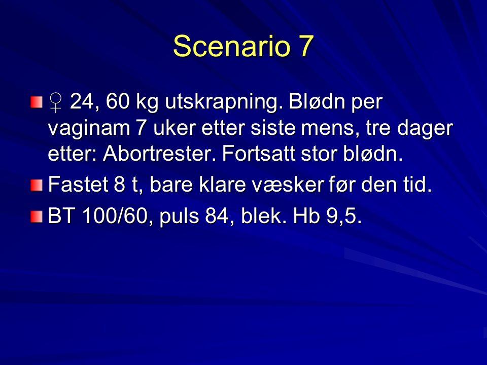 Scenario 7 ♀ 24, 60 kg utskrapning. Blødn per vaginam 7 uker etter siste mens, tre dager etter: Abortrester. Fortsatt stor blødn. Fastet 8 t, bare kla