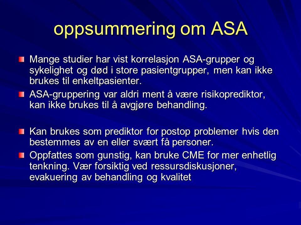 oppsummering om ASA Mange studier har vist korrelasjon ASA-grupper og sykelighet og død i store pasientgrupper, men kan ikke brukes til enkeltpasienter.