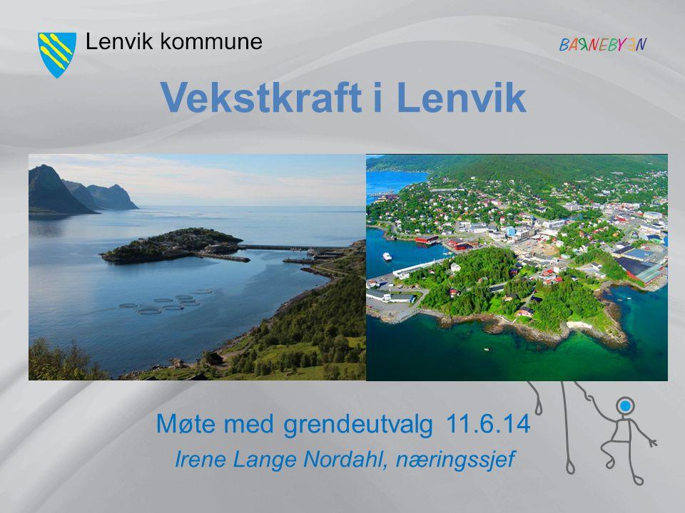 Vekstkraft i Lenvik Møte med grendeutvalg 11.6.14 Irene Lange Nordahl, næringssjef