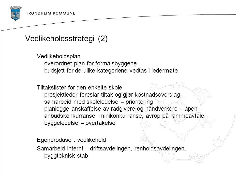 Vedlikeholdsstrategi (2) Vedlikeholdsplan overordnet plan for formålsbyggene budsjett for de ulike kategoriene vedtas i ledermøte Tiltakslister for de