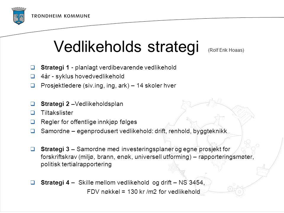 Vedlikeholds strategi (Rolf Erik Hoaas)  Strategi 1 - planlagt verdibevarende vedlikehold  4år - syklus hovedvedlikehold  Prosjektledere (siv.ing,