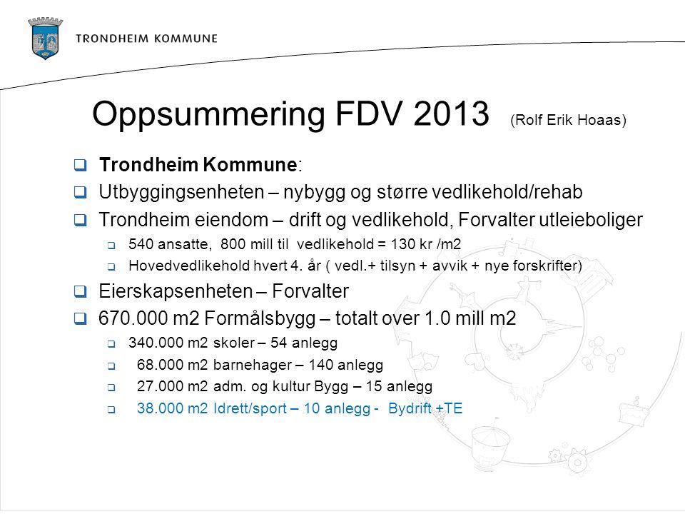 Oppsummering FDV 2013 (Rolf Erik Hoaas)  Trondheim Kommune:  Utbyggingsenheten – nybygg og større vedlikehold/rehab  Trondheim eiendom – drift og v
