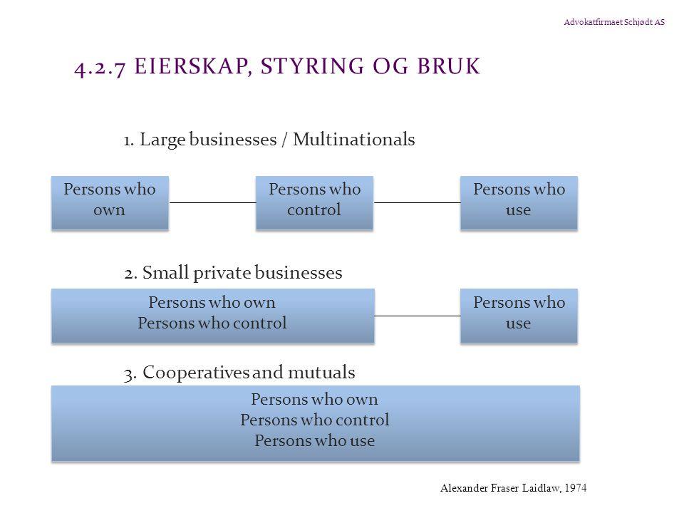 Advokatfirmaet Schjødt AS 4.2.7 EIERSKAP, STYRING OG BRUK 1. Large businesses / Multinationals 2. Small private businesses 3. Cooperatives and mutuals