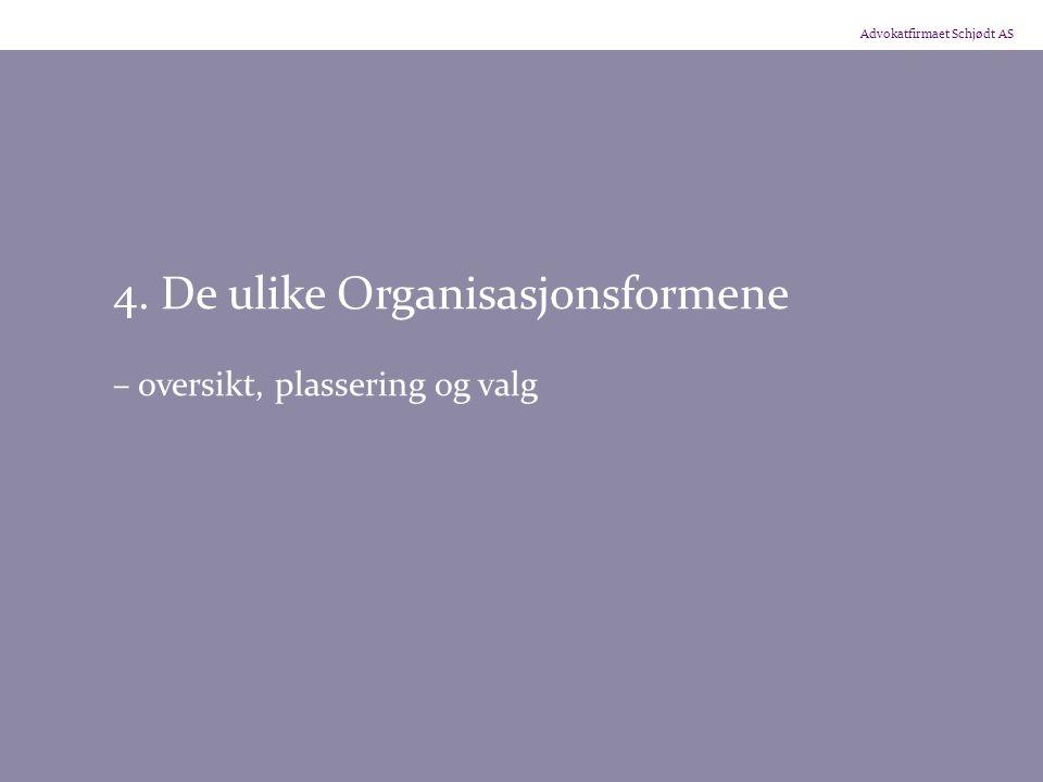 Advokatfirmaet Schjødt AS 4. De ulike Organisasjonsformene – oversikt, plassering og valg