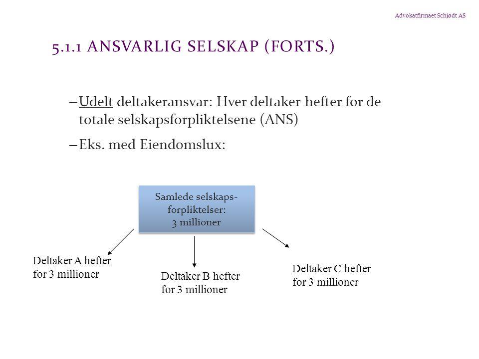 Advokatfirmaet Schjødt AS 5.1.1 ANSVARLIG SELSKAP (FORTS.) – Udelt deltakeransvar: Hver deltaker hefter for de totale selskapsforpliktelsene (ANS) – E