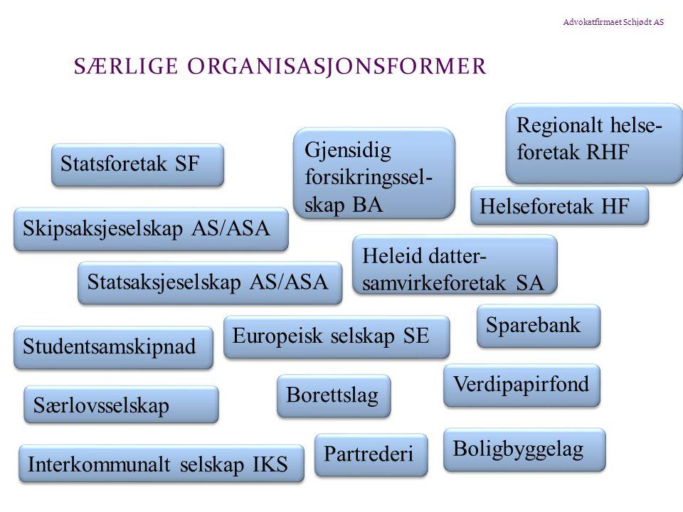Advokatfirmaet Schjødt AS SÆRLIGE ORGANISASJONSFORMER Statsforetak SF Gjensidig forsikringssel- skap BA Skipsaksjeselskap AS/ASA Heleid datter- samvir