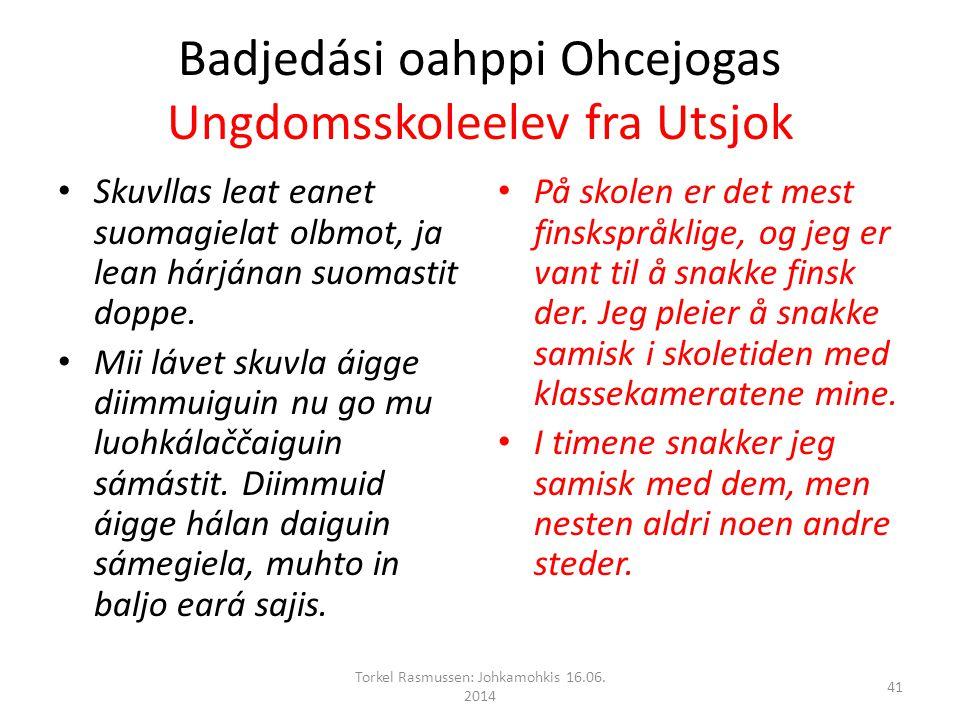 Badjedási oahppi Ohcejogas Ungdomsskoleelev fra Utsjok Skuvllas leat eanet suomagielat olbmot, ja lean hárjánan suomastit doppe.