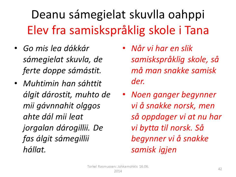 Deanu sámegielat skuvlla oahppi Elev fra samiskspråklig skole i Tana Go mis lea dákkár sámegielat skuvla, de ferte doppe sámástit.