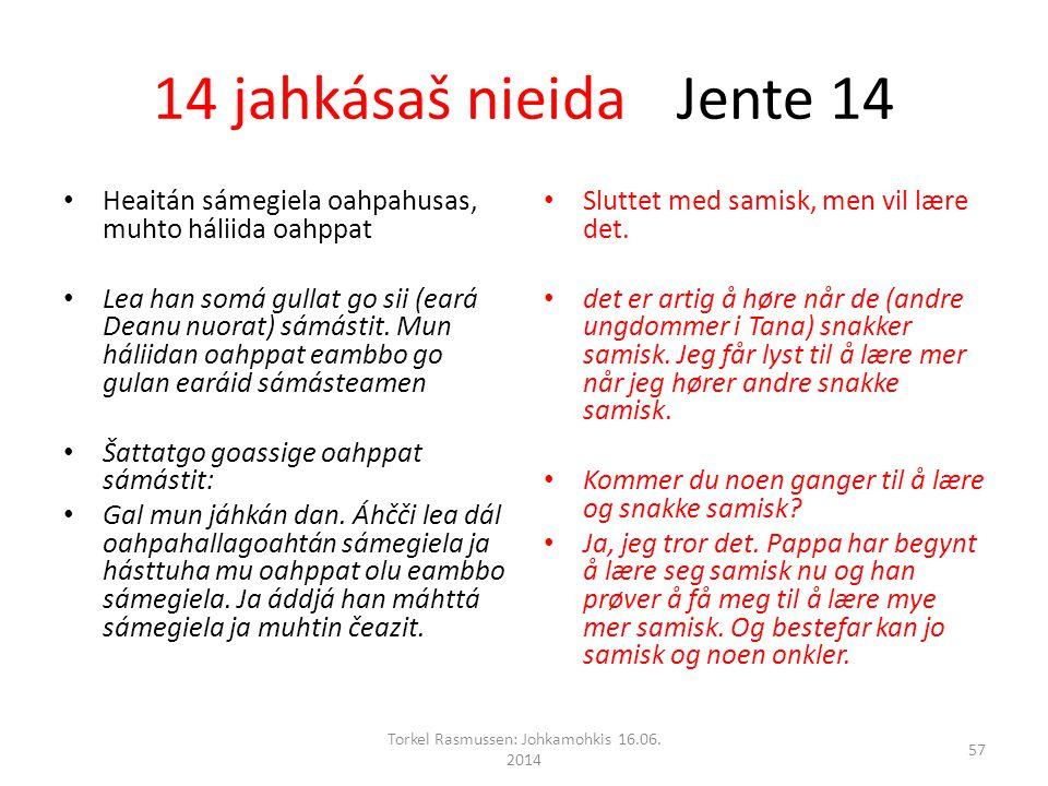 14 jahkásaš nieidaJente 14 Heaitán sámegiela oahpahusas, muhto háliida oahppat Lea han somá gullat go sii (eará Deanu nuorat) sámástit.
