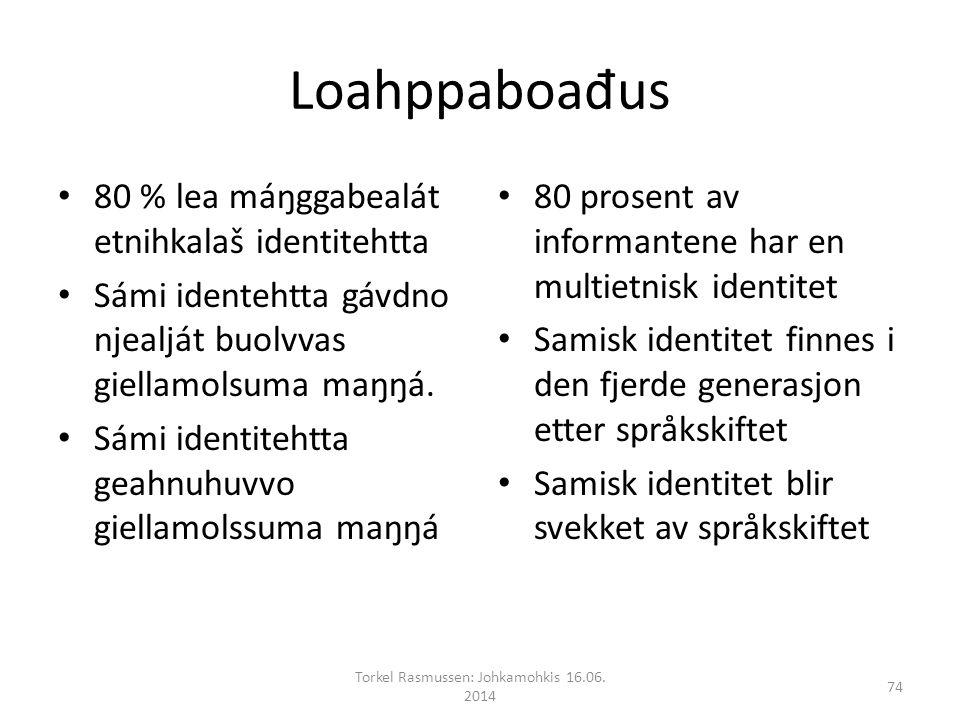Loahppaboa đ us 80 % lea máŋggabealát etnihkalaš identitehtta Sámi identehtta gávdno njealját buolvvas giellamolsuma maŋŋá.