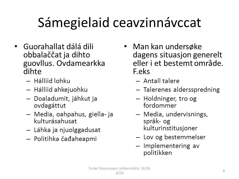 Sámegielaid ceavzinnávccat Guorahallat dálá dili obbalaččat ja dihto guovllus.