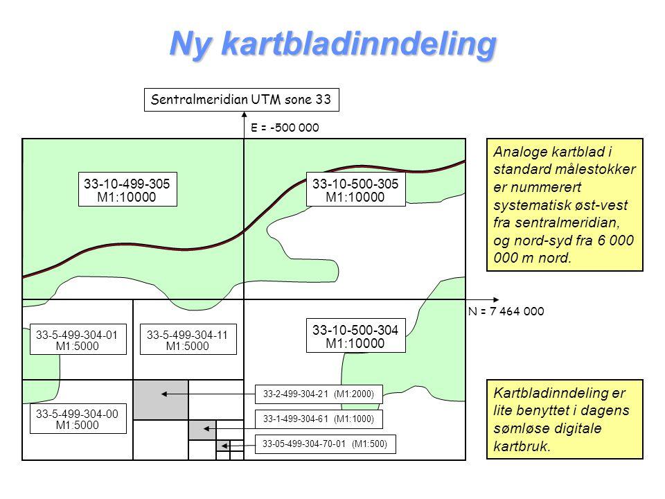 Ny kartbladinndeling Kartbladinndeling er lite benyttet i dagens sømløse digitale kartbruk. 33-10-499-305 M1:10000 Sentralmeridian UTM sone 33 E = -50