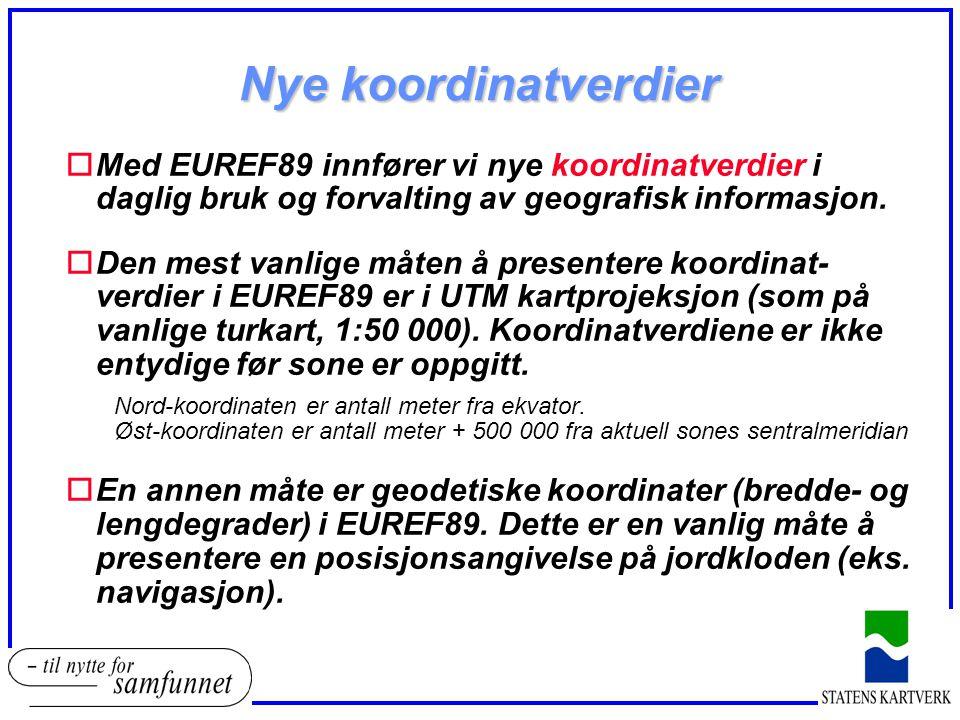 Nye koordinatverdier oMed EUREF89 innfører vi nye koordinatverdier i daglig bruk og forvalting av geografisk informasjon. oDen mest vanlige måten å pr