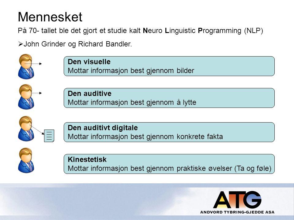 På 70- tallet ble det gjort et studie kalt Neuro Linguistic Programming (NLP)  John Grinder og Richard Bandler.