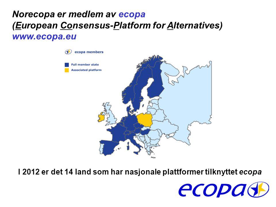 MEMBERS I 2012 er det 14 land som har nasjonale plattformer tilknyttet ecopa Norecopa er medlem av ecopa (European Consensus-Platform for Alternatives) www.ecopa.eu