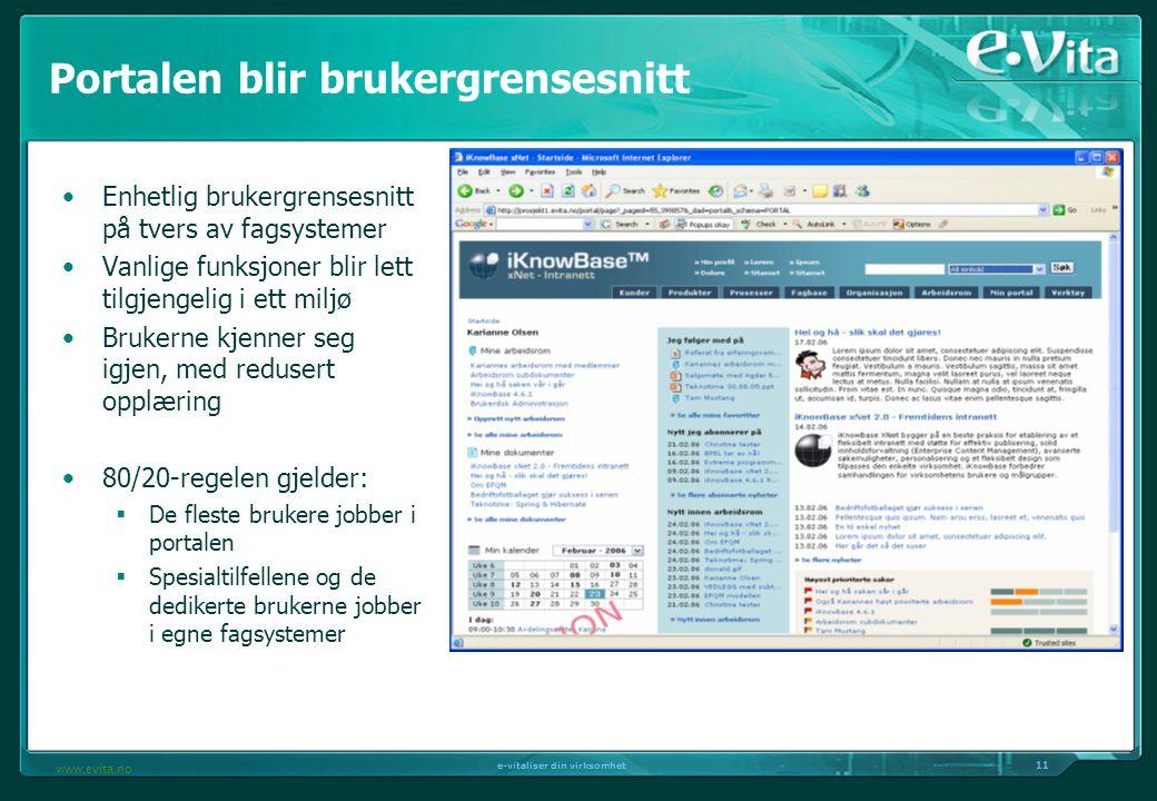 11 e-vitaliser din virksomhet www.evita.no Portalen blir brukergrensesnitt Enhetlig brukergrensesnitt på tvers av fagsystemer Vanlige funksjoner blir