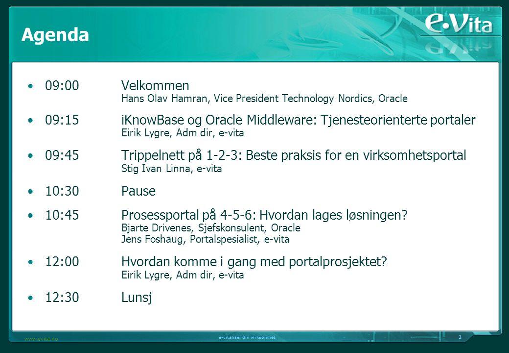 2 e-vitaliser din virksomhet www.evita.no Agenda 09:00Velkommen Hans Olav Hamran, Vice President Technology Nordics, Oracle 09:15iKnowBase og Oracle Middleware: Tjenesteorienterte portaler Eirik Lygre, Adm dir, e-vita 09:45Trippelnett på 1-2-3: Beste praksis for en virksomhetsportal Stig Ivan Linna, e-vita 10:30Pause 10:45Prosessportal på 4-5-6: Hvordan lages løsningen.