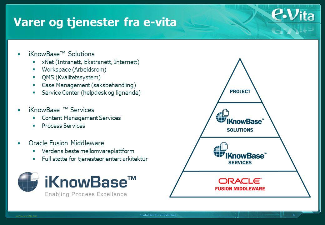 6 e-vitaliser din virksomhet www.evita.no Varer og tjenester fra e-vita iKnowBase™ Solutions  xNet (Intranett, Ekstranett, Internett)  Workspace (Ar