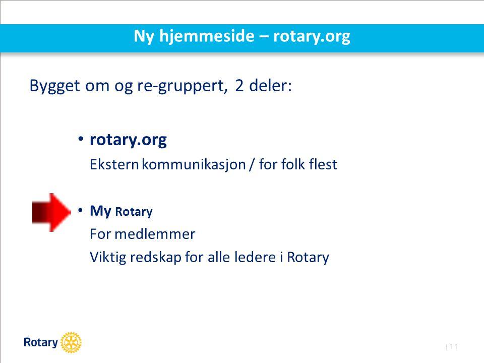 | 11 Ny hjemmeside – rotary.org Bygget om og re-gruppert, 2 deler: rotary.org Ekstern kommunikasjon / for folk flest My Rotary For medlemmer Viktig redskap for alle ledere i Rotary