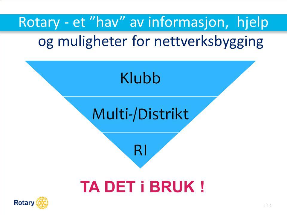 | 14 Rotary - et hav av informasjon, hjelp og muligheter for nettverksbygging TA DET i BRUK !