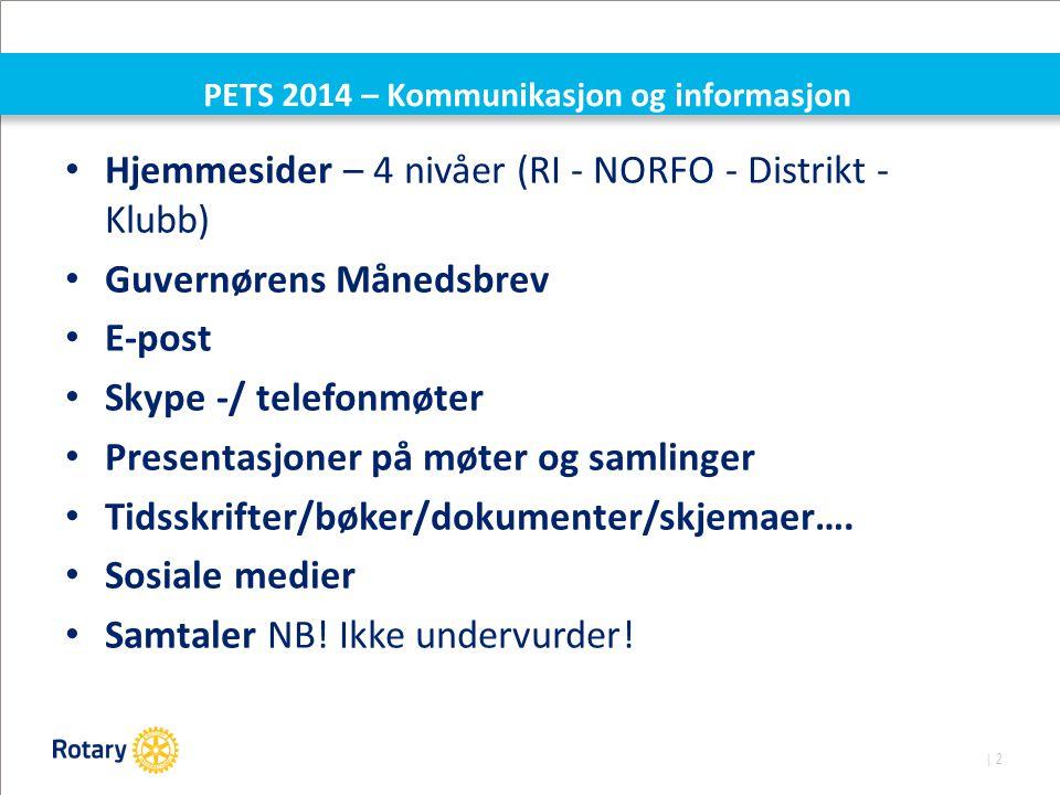 | 2 PETS 2014 – Kommunikasjon og informasjon Hjemmesider – 4 nivåer (RI - NORFO - Distrikt - Klubb) Guvernørens Månedsbrev E-post Skype -/ telefonmøte
