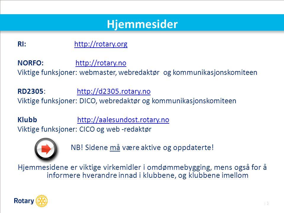 | 3 Hjemmesider RI:http://rotary.orghttp://rotary.org NORFO: http://rotary.nohttp://rotary.no Viktige funksjoner: webmaster, webredaktør og kommunikas