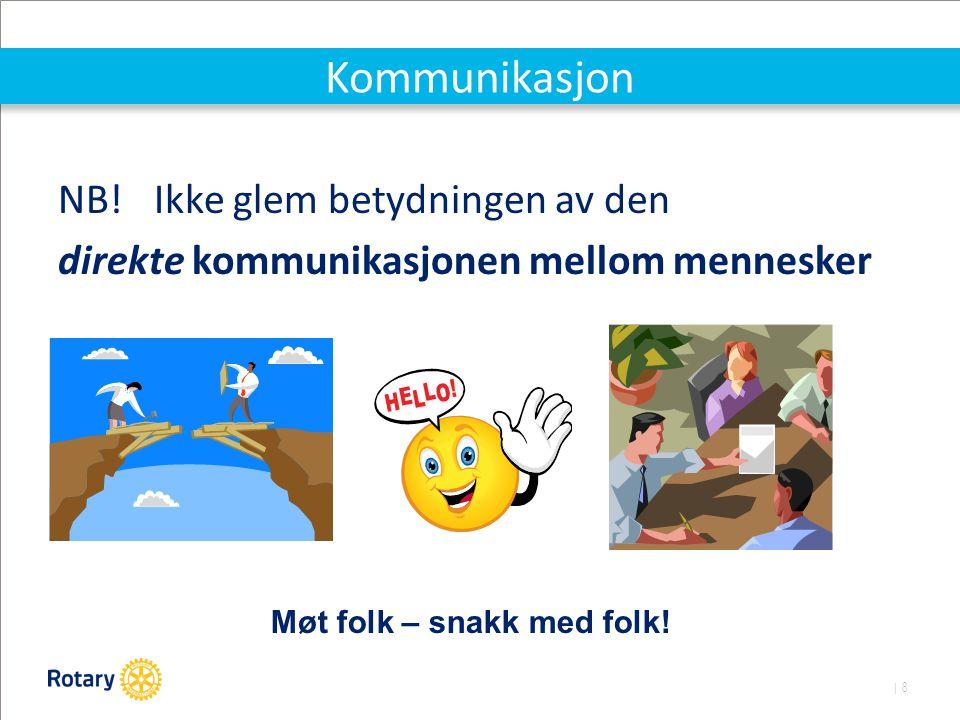 | 8 Kommunikasjon NB! Ikke glem betydningen av den direkte kommunikasjonen mellom mennesker Møt folk – snakk med folk!