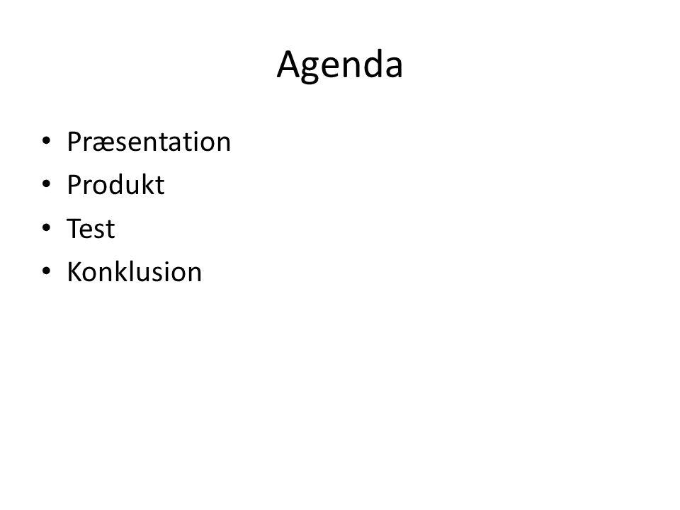 Agenda Præsentation Produkt Test Konklusion