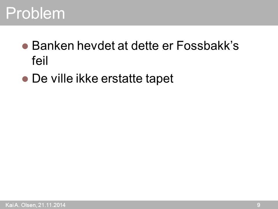 Kai A.Olsen, 21.11.2014 10 Hva gjør en bankkunde nå.