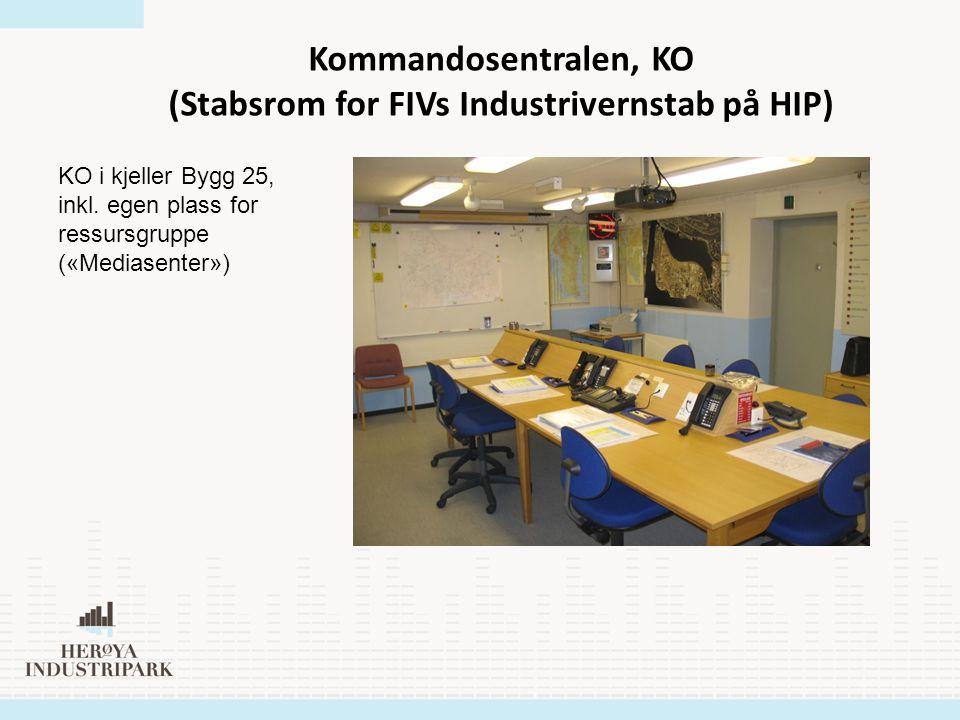 Kommandosentralen, KO (Stabsrom for FIVs Industrivernstab på HIP) KO i kjeller Bygg 25, inkl. egen plass for ressursgruppe («Mediasenter»)