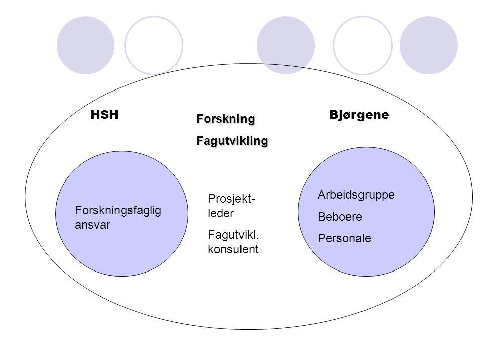 HSHBjørgene ForskningFagutvikling Forskningsfaglig ansvar Prosjekt- leder Fagutvikl. konsulent Arbeidsgruppe Beboere Personale