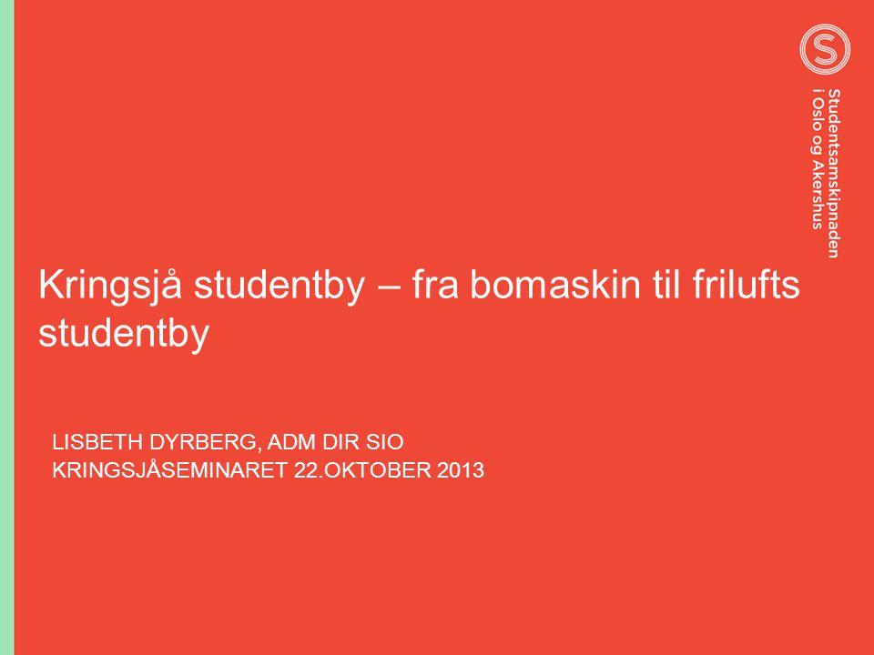 Kringsjå studentby – fra bomaskin til frilufts studentby LISBETH DYRBERG, ADM DIR SIO KRINGSJÅSEMINARET 22.OKTOBER 2013