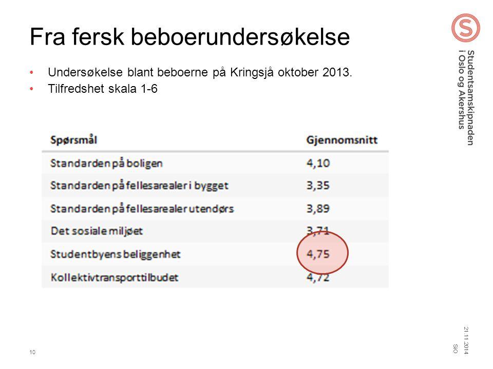 Fra fersk beboerundersøkelse Undersøkelse blant beboerne på Kringsjå oktober 2013. Tilfredshet skala 1-6 21.11.2014 SiO 10