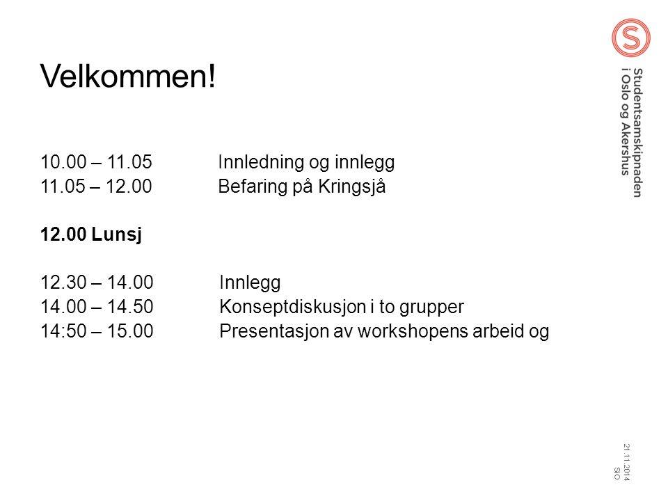 Velkommen! 10.00 – 11.05 Innledning og innlegg 11.05 – 12.00 Befaring på Kringsjå 12.00 Lunsj 12.30 – 14.00 Innlegg 14.00 – 14.50 Konseptdiskusjon i t