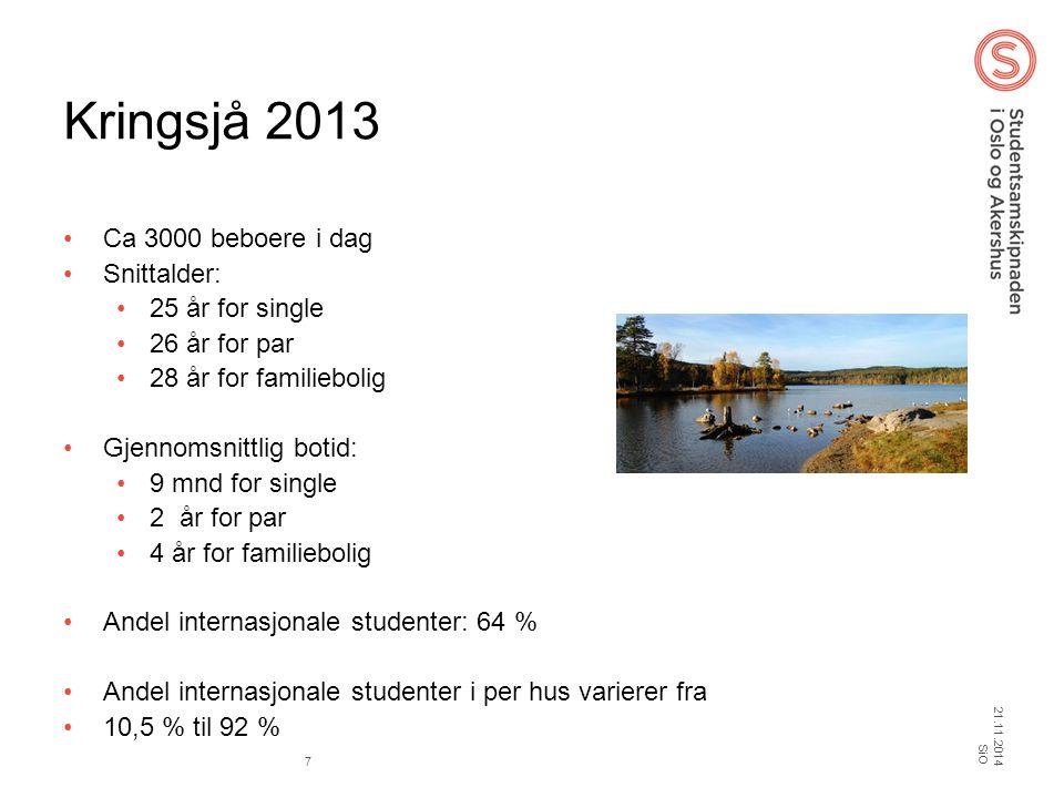 Kringsjå 2013 Ca 3000 beboere i dag Snittalder: 25 år for single 26 år for par 28 år for familiebolig Gjennomsnittlig botid: 9 mnd for single 2 år for