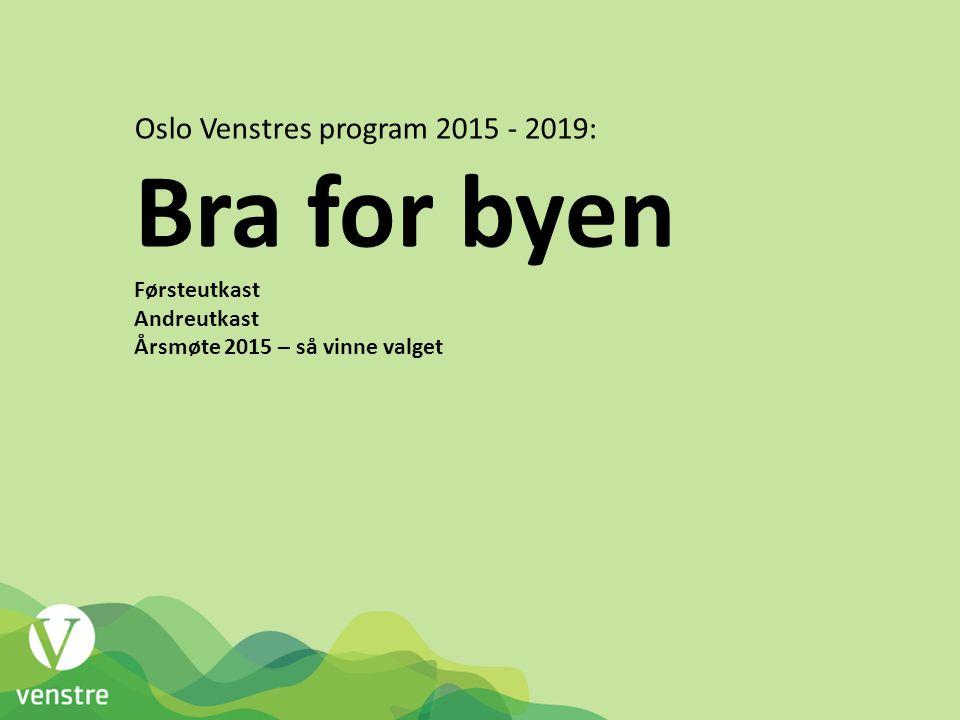 Oslo Venstres program 2015 - 2019: Bra for byen Førsteutkast Andreutkast Årsmøte 2015 – så vinne valget