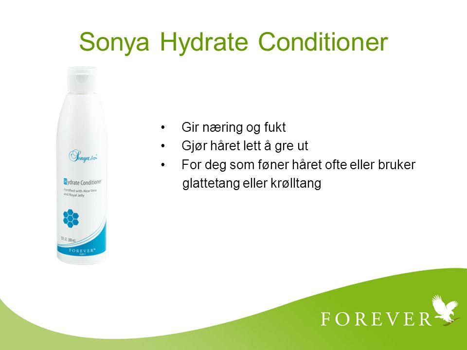 Gir næring og fukt Gjør håret lett å gre ut For deg som føner håret ofte eller bruker glattetang eller krølltang Sonya Hydrate Conditioner