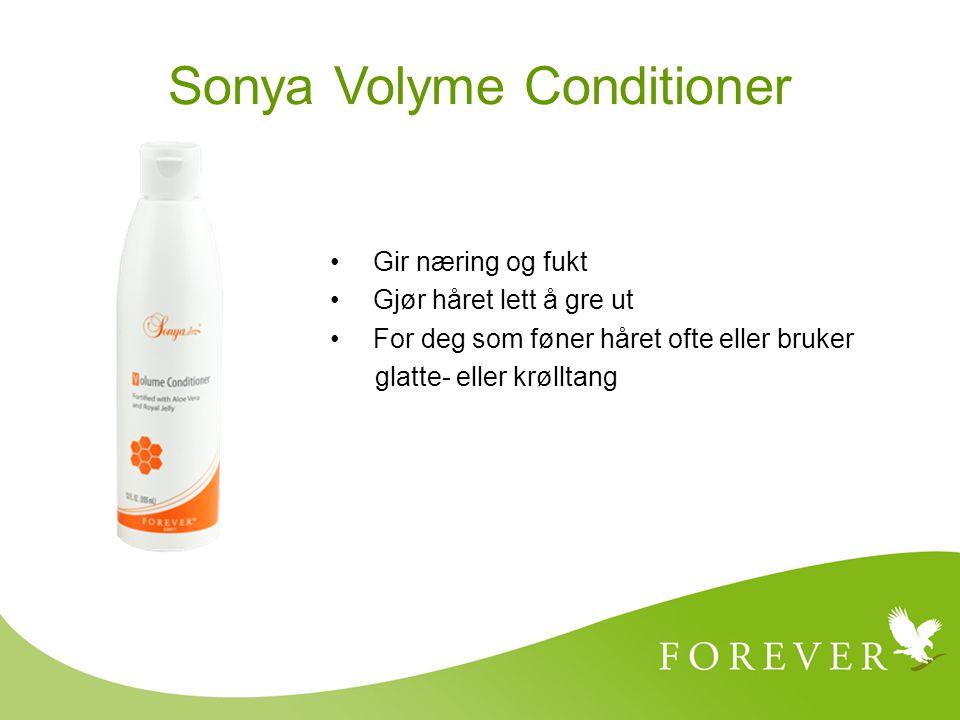 Gir næring og fukt Gjør håret lett å gre ut For deg som føner håret ofte eller bruker glatte- eller krølltang Sonya Volyme Conditioner