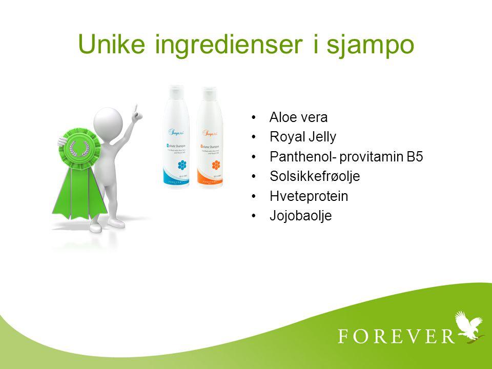 Aloe vera Royal Jelly Panthenol- provitamin B5 Solsikkefrøolje Hveteprotein Jojobaolje Unike ingredienser i sjampo