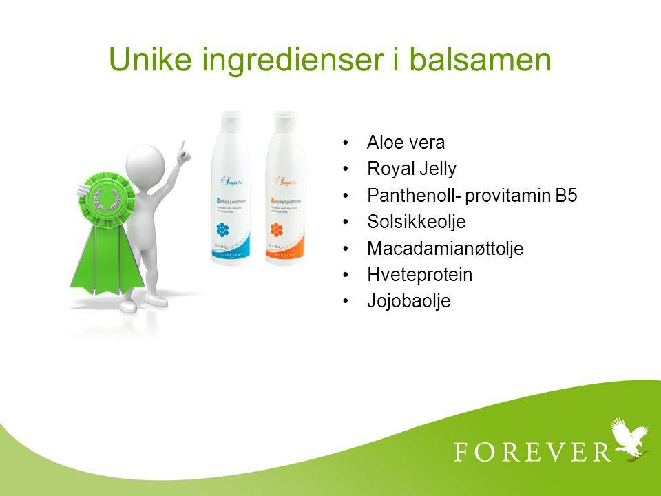 Aloe vera Royal Jelly Panthenoll- provitamin B5 Solsikkeolje Macadamianøttolje Hveteprotein Jojobaolje Unike ingredienser i balsamen