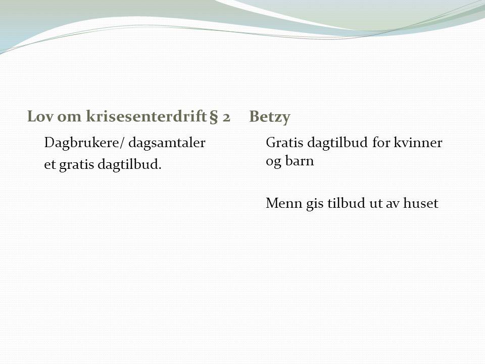 Lov om krisesenterdrift § 2 Betzy Dagbrukere/ dagsamtaler et gratis dagtilbud. Gratis dagtilbud for kvinner og barn Menn gis tilbud ut av huset