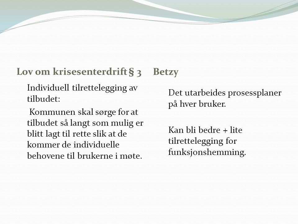 Lov om krisesenterdrift § 3 Betzy Individuell tilrettelegging av tilbudet: Kommunen skal sørge for at tilbudet så langt som mulig er blitt lagt til re