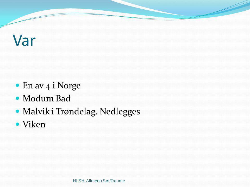 Var En av 4 i Norge Modum Bad Malvik i Trøndelag. Nedlegges Viken NLSH, Allmenn Sør/Traume
